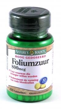 Foliumzuur 800mcg Natures Bounty 250 Tabletten Kopen Gezondheid