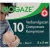 10 stuks Biogaze Verbandgazen 5 x 5 cm