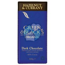 100 gram Green & Blacks Dark Chocolate Hazelnut & Currant Biologisch
