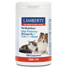 120 capsules Lamberts Pet Nutrition High Potency Omega 3s for Cats and Dogs