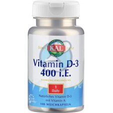 100 softgels KAL Vitamin D-3 400 I.E.