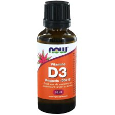 30 ml NOW Foods Vitamine D3 Druppels 1000 IE