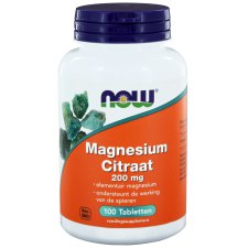 100 tabletten NOW Foods Magnesium Citraat 200 mg