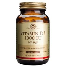 100 softgels Solgar Vitamin D3 1000 IU 25 mcg
