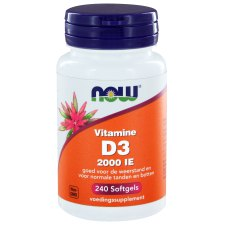 240 softgels NOW Foods Vitamine D3 2000 IE 50 mcg