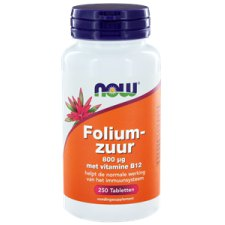 250 tabletten NOW Foods Foliumzuur 800 mcg