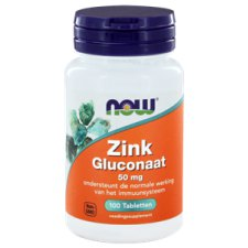 100 tabletten NOW Foods Zink Gluconaat 50 mg