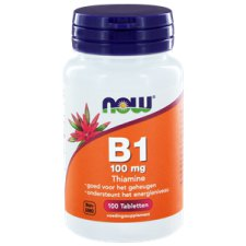 100 tabletten NOW Foods Vitamine B1 100 mg Thiamine