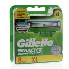 8 stuks Gillette Mach3 Sensitive Scheermesjes XL