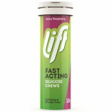 10 tabletten Lift Fast Acting Glucose Chews Juicy Raspberry (Glucotabs)