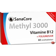60 smelttabletjes SanaCore Methyl 3000 Vitamine B12 + Foliumzuur