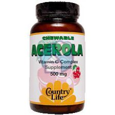 90 kauwtabletten Country Life Acerola C cplx 500mg + Biofl 50mg